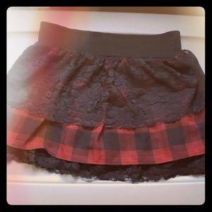 Red and Black Plaid Tartan Skirt